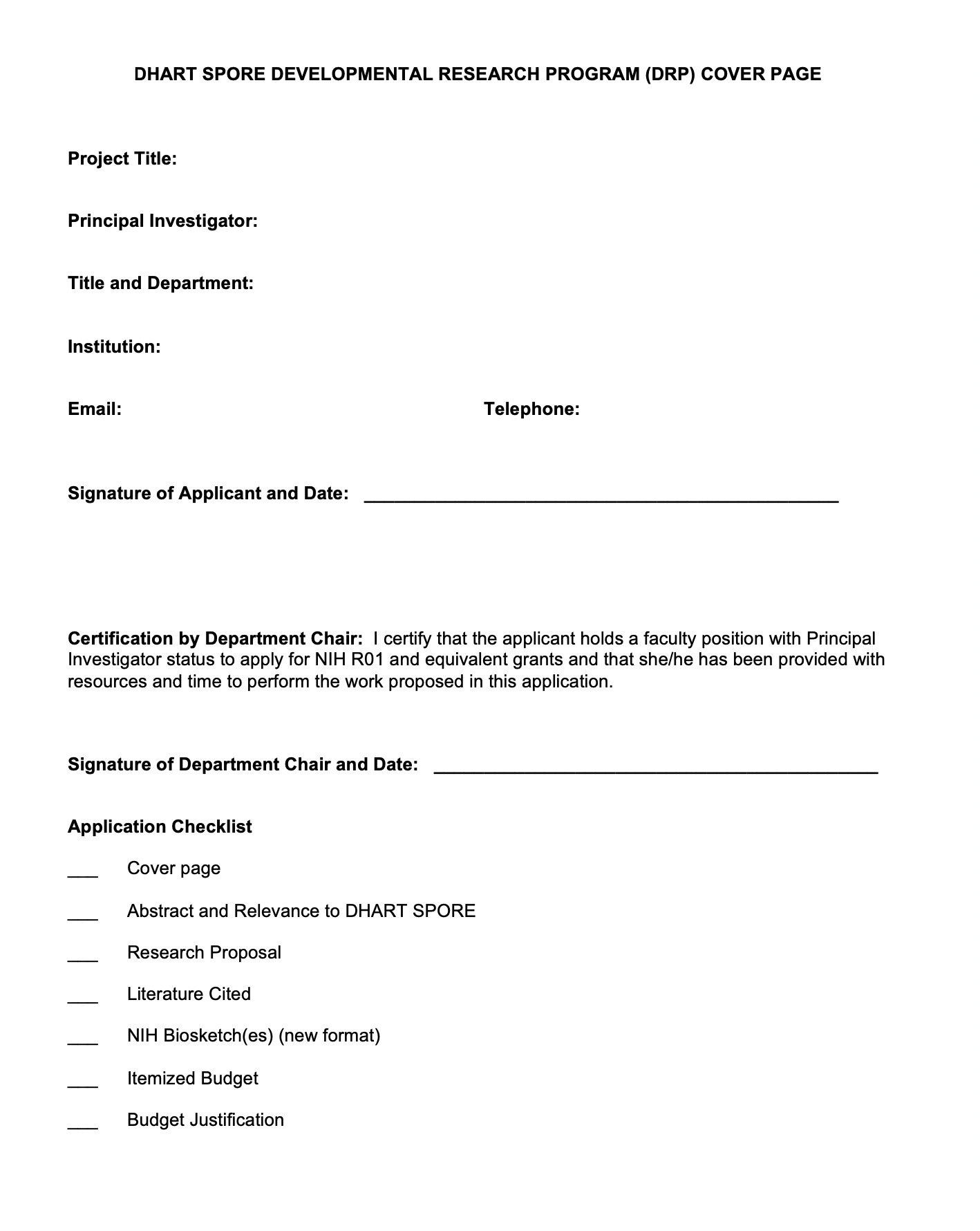 DHART SPORE DRP Proposal Form